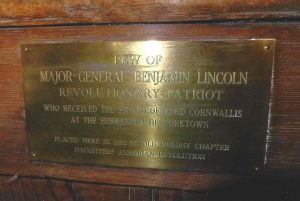 Old Ship Church General Lincoln Pew Plaque