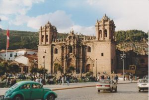 Facade of Basilica of Our Lady of the Assumption in Cuzco