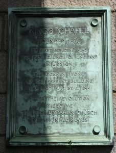King's Chapel Boston Historic Marker