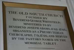 Old South First Presbyterian Church of Newburyport Historic Sign
